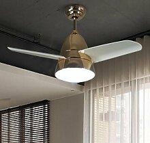 Decke Ventilatoren Lampe Ventilator Kronleuchter Europäische moderne minimalistische Mode Restaurant remote anmeldet hölzernen Blatt fan (Gold-Fan)