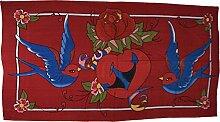 Decke / Wandbehang / Tagesdecke / Bett-Ueberwurf Turteltauben mit Herz und Anker, 100% Baumwolle, ca. 240 x 150 cm
