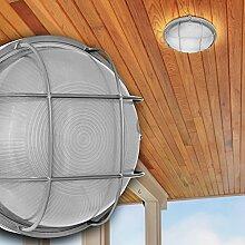 Decken Leuchte AUSSEN Ø240mm/ Grau/ Glas/ Alu/ Lampe Aussenlampe Aussenleuchte Deckenlampe Deckenleuchte