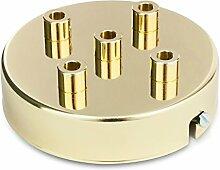 Deckenbaldachin Lampenbaldachin Metall 5-fach (mit 5 Kabelauslässen) 100x24mm, Messing-Finish   inkl. Klemmnippel Zugentlastung aus Metall
