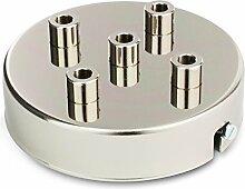 Deckenbaldachin Lampenbaldachin Metall 5-fach (mit 5 Kabelauslässen) 100x24mm, Nickel-Finish   inkl. Klemmnippel Zugentlastung aus Metall