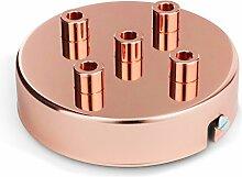 Deckenbaldachin, Metall Baldachin für Lampe Leuchte mit 5 Auslässen 100x24mm, Kupfer Finish   inkl. Klemmnippel Zugentlastung aus Metall