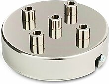 Deckenbaldachin, Metall Baldachin für Lampe Leuchte mit 5 Auslässen 100x24mm, Nickel Finish   inkl. Klemmnippel Zugentlastung aus Metall