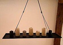 Deckenhänger Dekohänger KERZENTABLETT zum hängen Metall Schwarz Metalltablett 58cm gross Kronleuchter