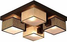 Deckenlampe Wero Design Deckenleuchte Leuchte-Barsa-011 C Holz Eichenfurnier Stoff Chrom