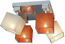 Deckenlampe - Wero Design Vigo-022 A (Mix Orange/Creme) - Deckenleuchte, Leuchte, Lampenschirme, 4-flammig, Metall, Stoff, Chrom