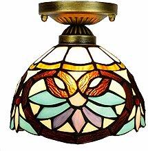 Deckenleuchte 8 Zoll 20cm Buntglas Barock Lampe