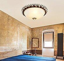Deckenleuchte - American Country Antiken runden Glas Deckenleuchten europäischen Balkon Gang Schlafzimmer Wohnzimmer Studie Deckenleuchten (Größe, Farbe Optional) - Home Warme Decke lampe (Größe: 15,5 cm)