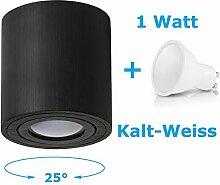 Deckenleuchte Aufbau Deckenlampe Aufbauleuchte Aufputz PALERMO 1W Kalt-Weiß Strahler mit LED SMD Würfel/Rund Qube Downlight (OH.36 Schwarz 1W KW)