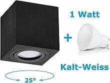 Deckenleuchte Aufbau Deckenlampe Aufbauleuchte Aufputz PALERMO 1W Kalt-Weiß Strahler mit LED SMD Würfel/Rund Qube Downlight (OH.37 Schwarz 1W KW)