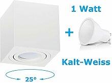 Deckenleuchte Aufbau Deckenlampe Aufbauleuchte Aufputz PALERMO 1W Kalt-Weiß Strahler mit LED SMD Würfel/Rund Qube Downlight (OH.37 Weiß 1W KW)