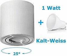Deckenleuchte Aufbau Deckenlampe Aufbauleuchte Aufputz PALERMO 1W Kalt-Weiß Strahler mit LED SMD Würfel/Rund Qube Downlight (OH.36 Silber 1W KW)