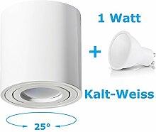 Deckenleuchte Aufbau Deckenlampe Aufbauleuchte Aufputz PALERMO 1W Kalt-Weiß Strahler mit LED SMD Würfel/Rund Qube Downlight (OH.36 Weiß 1W KW)