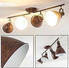 Deckenleuchte KOPPOM 4-flammig aus Metall – Zimmerlampe in Rostbraun –Deckenlampe für Wohnzimmer – Flur – Schlafzimmer – dreh- und schwenkbare Lampenschirme – 4x E14-Fassung 40 Wa