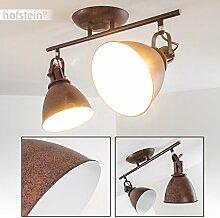 Deckenleuchte KOPPOM aus Metall in Rostbraun – 2-flammige Deckenleuchte Zimmerlampe für Wohnzimmer – Flur – Schlafzimmer – dreh- und schwenkbare Leuchtköpfe – 2x E14-Fassung 40 Wa