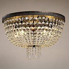 Deckenleuchte Lampe Beleuchtung American Country Wohnzimmer Hotelzimmer Balkon Circular Crystal Lampe ( farbe : Gelbes Licht )