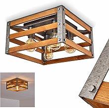 Deckenleuchte Mallard, Deckenlampe aus Holz/Metall