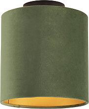 Deckenleuchte mit Samtschirm grün mit Gold 20 cm