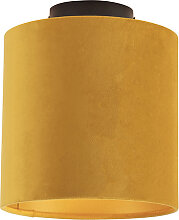Deckenleuchte mit Veloursschirm ocker mit Gold 20
