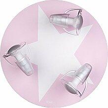 Deckenleuchte rosa mit Stern weiß 3-flg. 65927.0