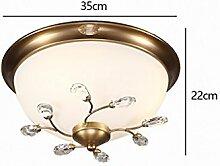 Deckenleuchte Schlafzimmer Studie Lampe Balkon Deckenleuchte Creative Kupfer und Eisen Kristall Voll Kupfer Decke Lampe ( größe : Diameter 35cm high 22cm )