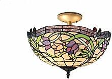 Deckenleuchte, Tiffany-Glas, Weinranken-Muster