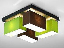 Deckenleuchte Wohnzimmer Wero Design Vitoria-001 Braun/Green Leuchte 4-flammig Holz Stoff Schwenkbar Geeignet für LED Glühbirne im Standardformat E27