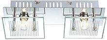 Deckenleuchten Wandleuchte Glas gestreift Deckenlampe Wandlampe Chrom Globo 49201 silber
