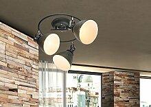 Deckenstrahler 3 Flammig Deckenleuchte Retro Design (Vintage-Lampe, Deckenbeleuchtung, Deckenlampe, 33 cm, Metall Schwarz, 3 Spots)