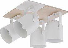 Deckenstrahler Lampe Beleuchtung Weiß Holz Metall