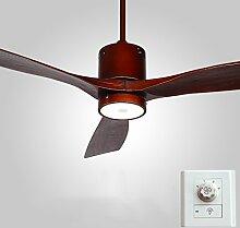Deckenventilator beleuchtet Restaurant-Antike-Ventilator beleuchtet einfaches modernes hölzernes Blatt-Wohnzimmer mit LED-Deckenventilator-Wand-Steuerung / Fernbedienung 12W Deckenventilatoren mit Beleuchtung