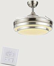 Deckenventilator beleuchtet unsichtbare Ventilator-Lichter Wohnzimmer-einfacher moderner unsichtbarer Ventilator LED Restaurant-Ventilator-Anhänger intelligente Verdunkelung, weiß, 42 Zoll Deckenventilatoren mit Beleuchtung