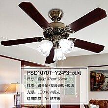 Deckenventilator Ventilator Licht Licht LED moderne Kronleuchter Vintage Restaurant chinesische Restaurants Jerry wind, Wind Geist - LED18W - gelb (6W Birne 3)