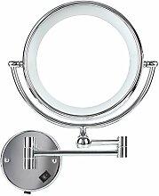 DECKEY Kosmetikspiegel 5x Vergrößerung mit LED Beleuchtung, Rasierspiegel klappbar, 5-fach hochwertige Badezimmerspiegel, Schminkspiegel für Kosmetikstudio, Badezimmer und Spa