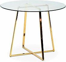 Déco en Ligne Esstisch, rund, Glas/goldfarben