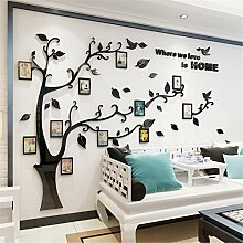 DecoBay DIY 3D Huge Menory Tree Wall Stickers Crystal Acrylic Photo Frame Home Decorations Arts (Schwarz Links, XXL)
