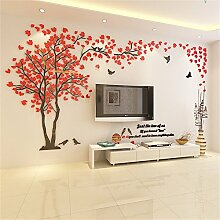 DecoBay DIY 3D Huge Menory Tree Wall Stickers Crystal Acrylic Photo Frame Home Decorations Arts (Red Left, XXL)