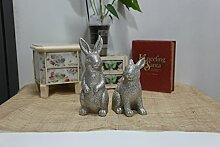 DecoBay Ostern Kaninchen Harz Hase Resin rabbit Karneval Dekoration Figur Kaninchen für Haus Garten Büro (Silber A)