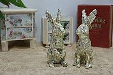 DecoBay Ostern Kaninchen Harz Hase Resin rabbit Karneval Dekoration Figur Kaninchen für Haus Garten Büro (Gold B)