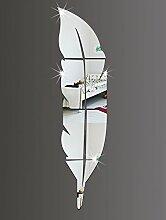 DecoBay Wandsticker Spiegel Acryl Feather 3D