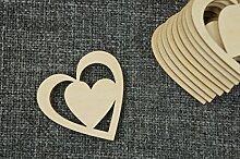 DECOCRAFT 10x Holz Diagonal Herz 5cm, blanko,