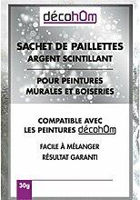 decohom Dekoknöpfe aus Pailletten für Wandgemälde und Holzverkleidungen Silber Glitzer