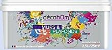 decohom Wandmalerei Monoschicht Velours 2,5l Jazz Grau Blau Rauchmelder