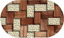 DecoHomeTextil Wachstuch Tischdecke RUND OVAL Farbe & Größe wählbar Rattan Blumen 130 x 160 cm Oval abwaschbar