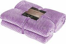 DecoKing 15308 Kuscheldecke 150x200 cm lila Decke Microfaser Mikrofaserdecke Fleecedecke Wohndecke Tagesdecke Fleece weich sanft kuschelig skandinavischer Stil violett lilac violet Henry