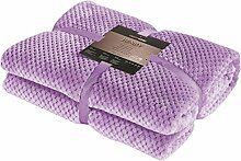 DecoKing 15322 Kuscheldecke 220x240 cm lila Decke Microfaser Mikrofaserdecke Fleecedecke Wohndecke Tagesdecke Fleece weich sanft kuschelig skandinavischer Stil violett lilac violet Henry