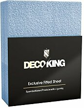 DecoKing 63538 Spannbettlaken für Kinderbett 60 x 140-70 x 140 cm Frottee Baumwolle Spannbetttuch, blau