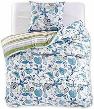 DecoKing 97434 135x200 cm Bettwäsche mit 1 Kissenbezug 80x80 Renforcé Bettwäscheset Bettbezüge 100% Baumwolle Bettwäschegarnituren Reißverschluss Diamond Collection Floral creme grün beige blau gelb