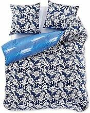 DecoKing 97564 200x220 cm Bettwäsche mit 2 Kissenbezügen 80x80 Renforcé Bettbezüge Bettbezug Bettwäsche-Set 100% Baumwolle Öko-Tex Standard 100 60 Grad waschbar Diamond Achillea blau dunkelblau weiß