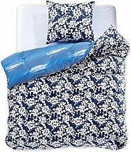 DecoKing 97588 155x220 cm Bettwäsche mit 1 Kissenbezug 80x80 Renforcé Bettbezüge Bettbezug Bettwäsche-Set 100% Baumwolle Öko-Tex Standard 100 60 Grad waschbar Diamond Achillea blau dunkelblau weiß